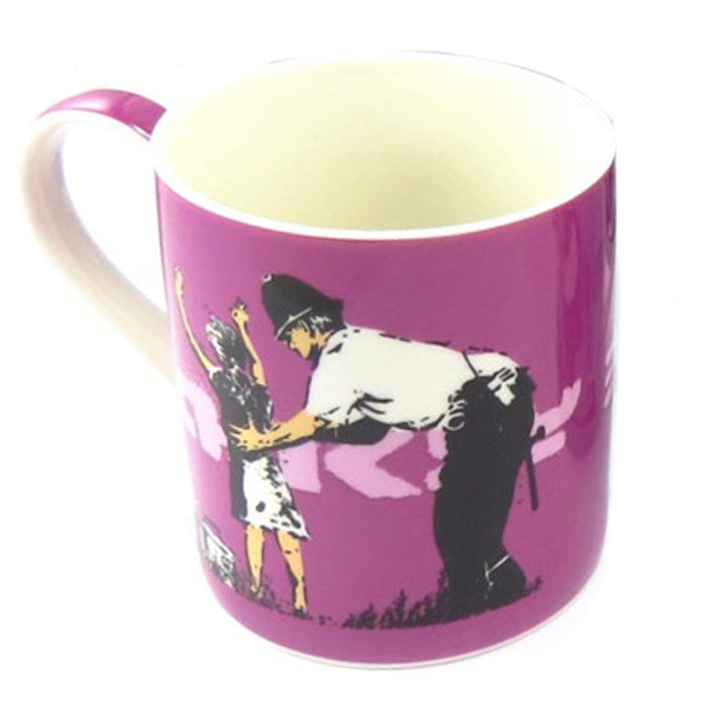 Mug porcelaine \'Banksy\' violet (Street search frisk) - 90x85 mm - [Q8812]