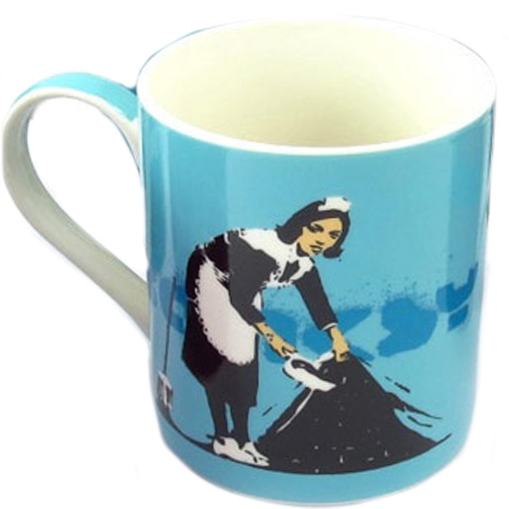 Mug porcelaine \'Banksy\' turquoise (Camden maid) - 90x85 mm - [Q8813]
