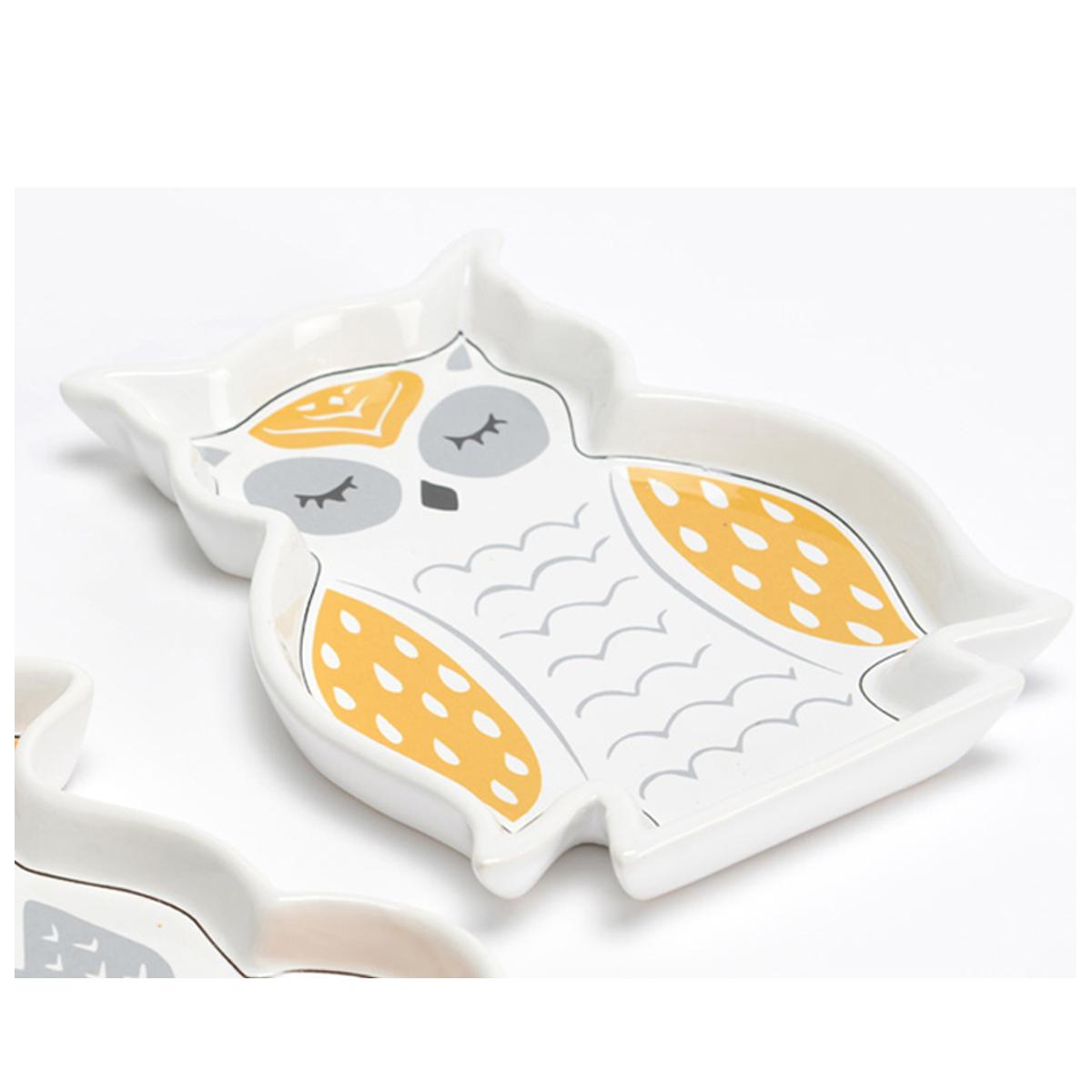Vide-poches porcelaine \'Hibou\' orange gris blanc - 185x145 cm - [Q9622]