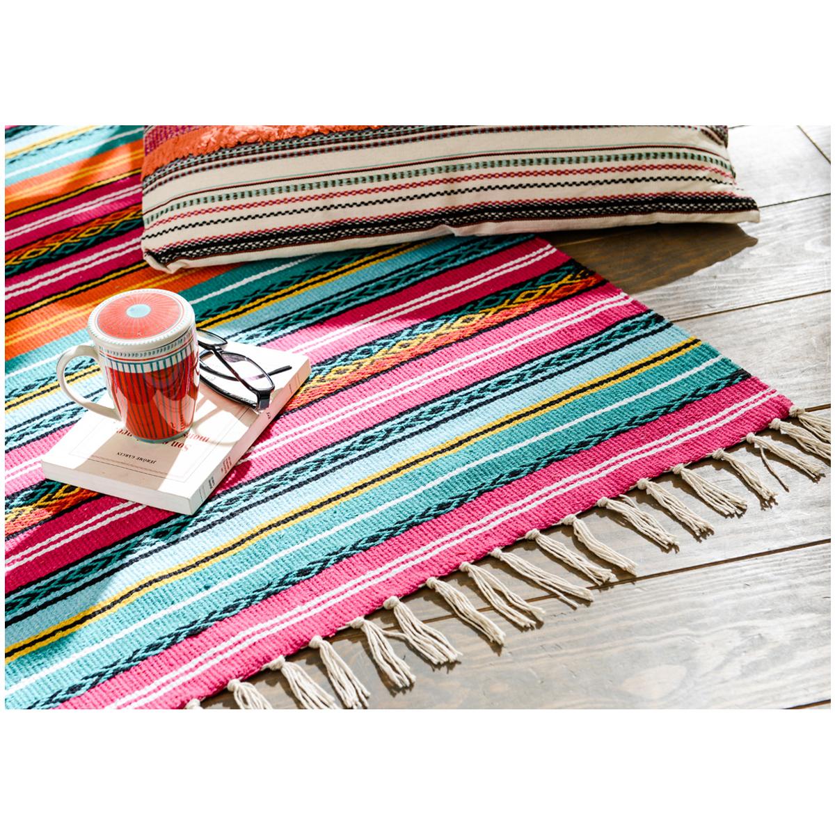 Tapis coton \'Boho\' multicolore - 90x60 cm - [Q9626]