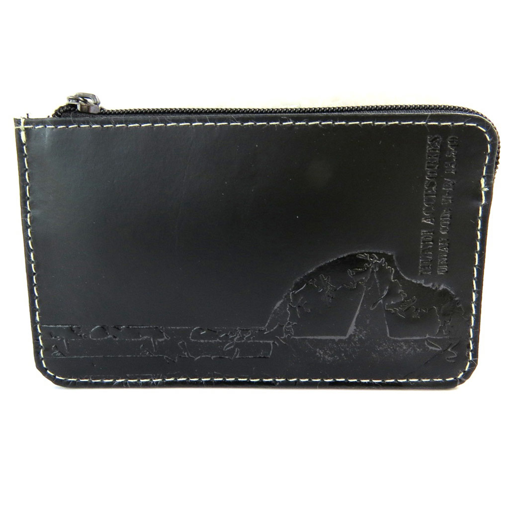 Porte-monnaie cuir \'Mundi\' noir - 12x75 cm - [N5813]