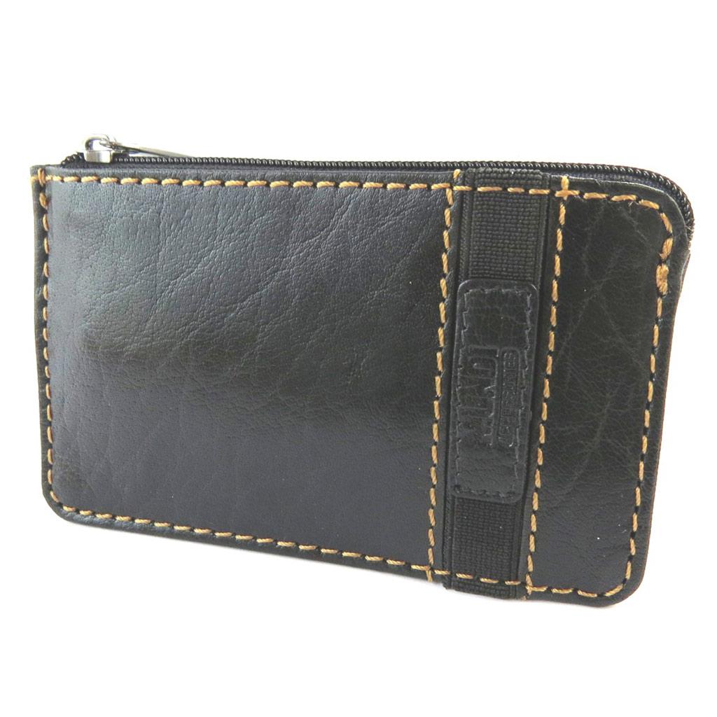 Porte-monnaie cuir \'Mundi\' noir vintage - 12x72 cm - [N5814]
