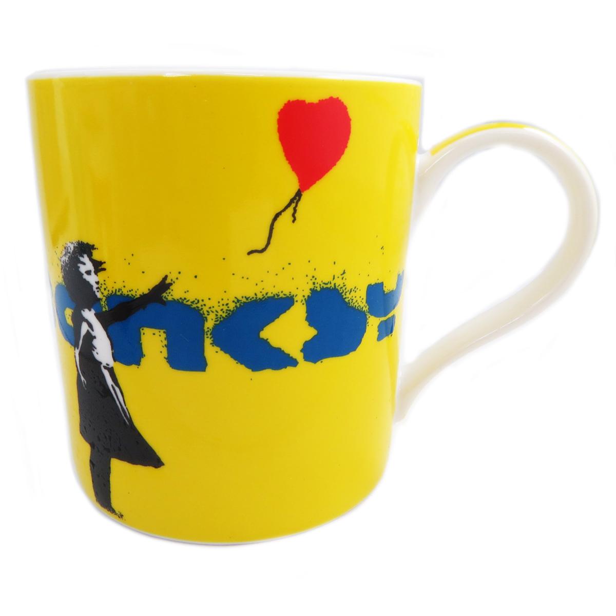 Mug porcelaine \'Banksy\' jaune (girl with balloon) - 90x85 mm - [Q8818]