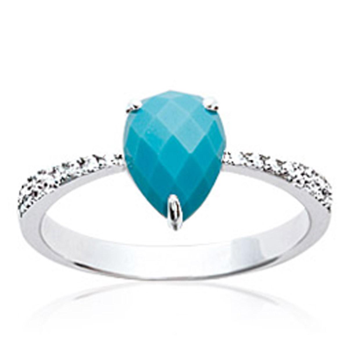Bague Argent \'Princesse Opale\' turquoise blanc argenté (rhodié) - 10x7 mm - [P0634]