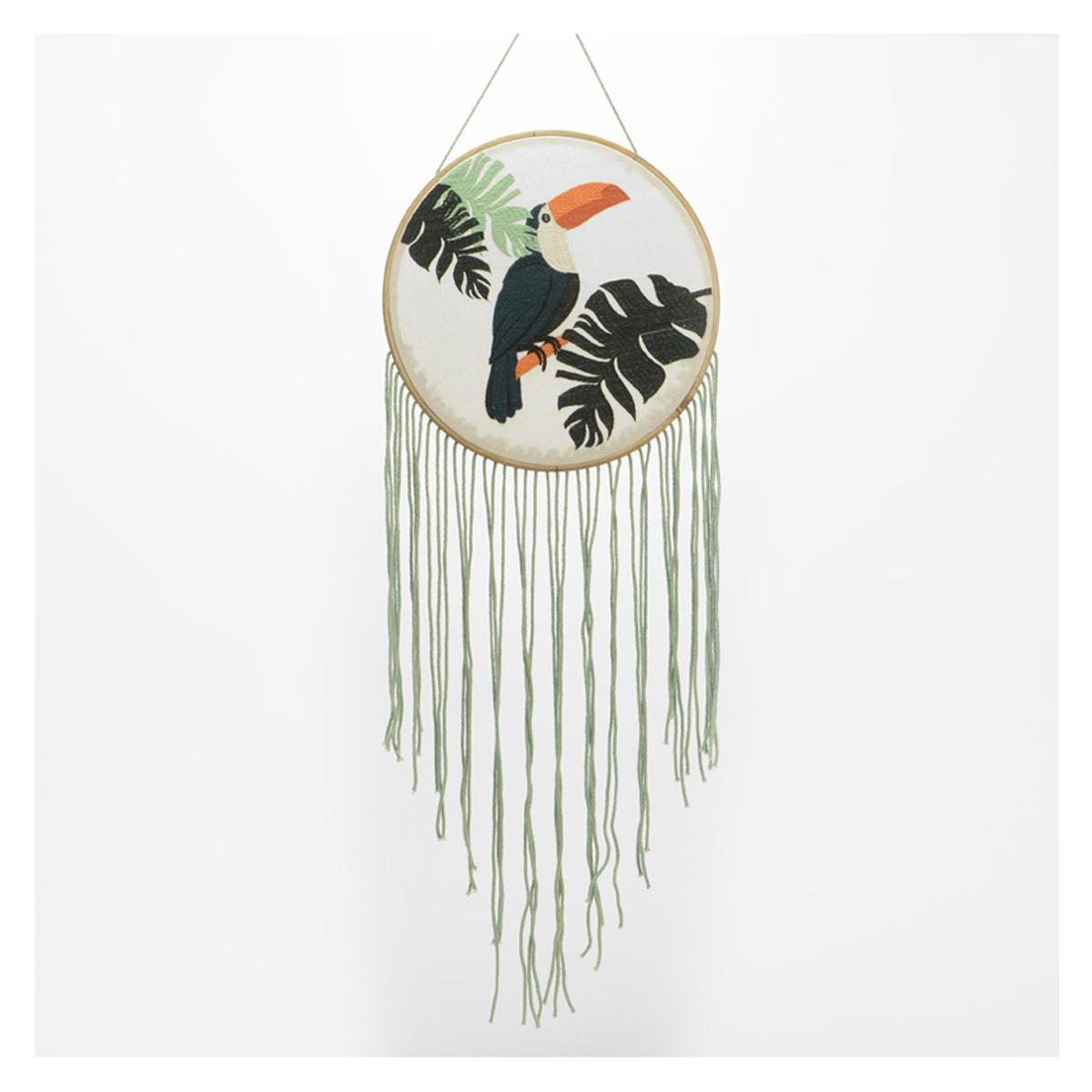 Décoration murale coton brodée \'Jungle\' noir vert (toucan, monstera) - 120x30 cm - [Q9628]