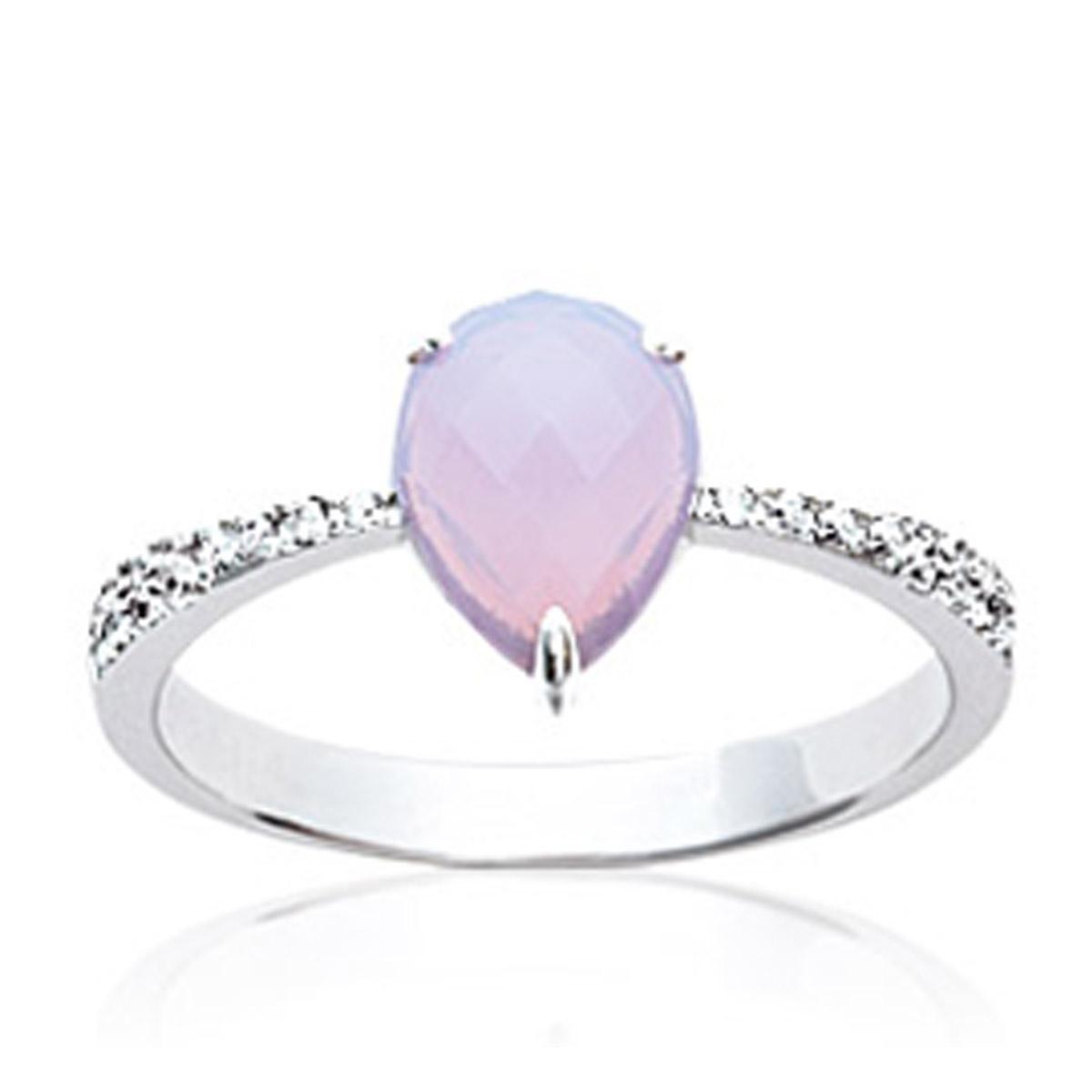 Bague Argent \'Princesse Opale\' rose opalescent blanc argenté (rhodié) - 10x7 mm - [P0635]