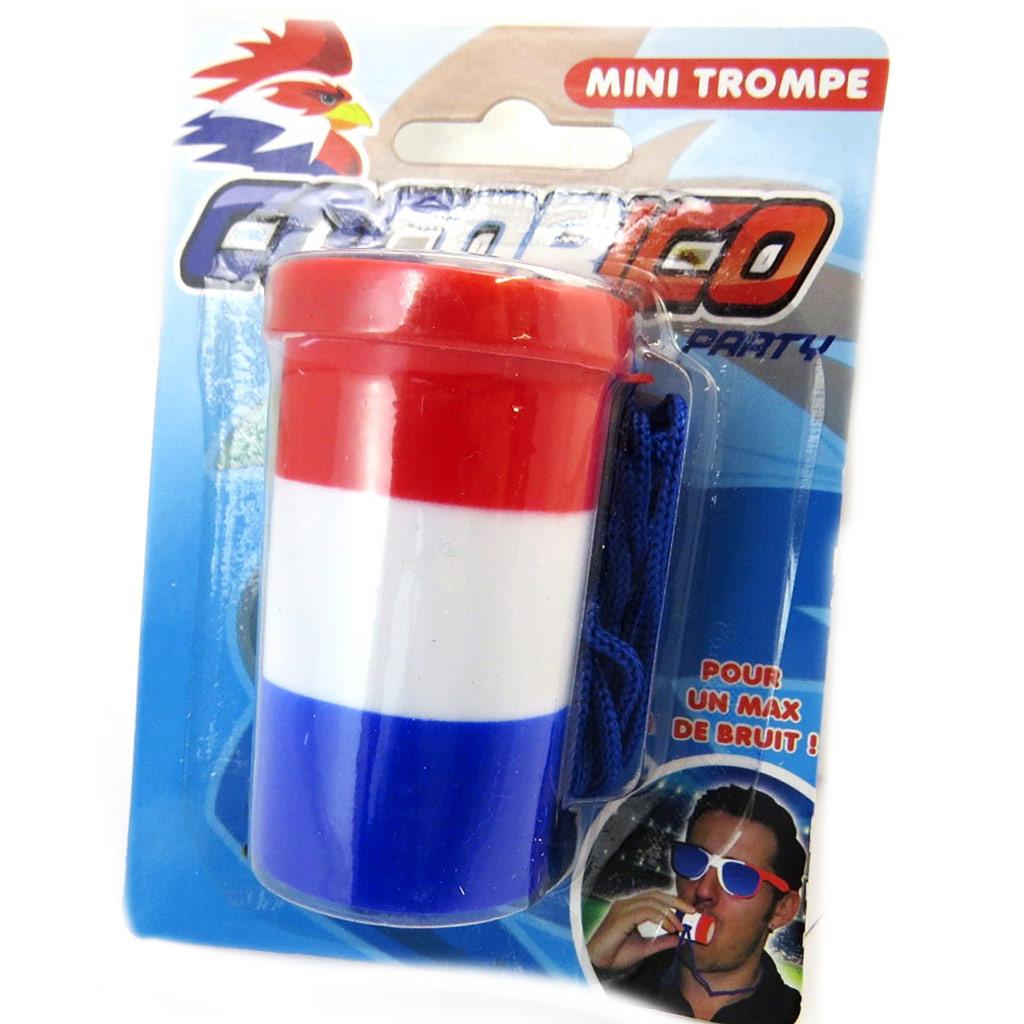 Mini trompe \'France Cocorico\' tricolore - [N5825]