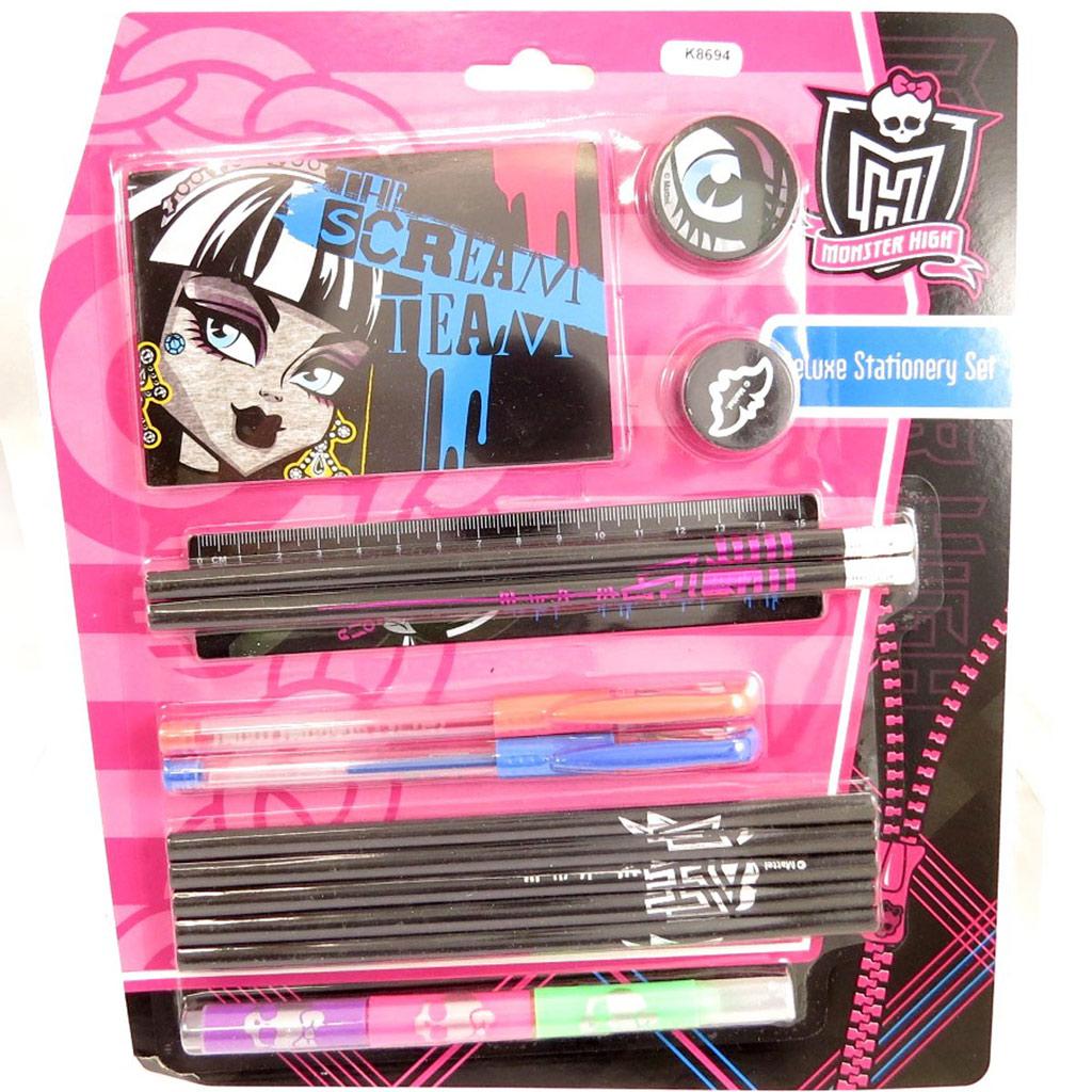 Set papeterie \'Monster High\' noir rose (14 pièces) - [K8694]