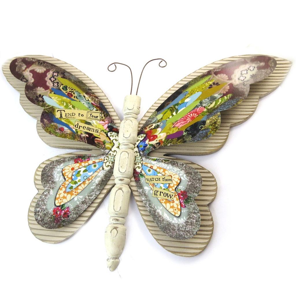 Décoration murale \'\' Papillon Babouchka\' multicolore (bois) - 46x33 cm - [N5858]