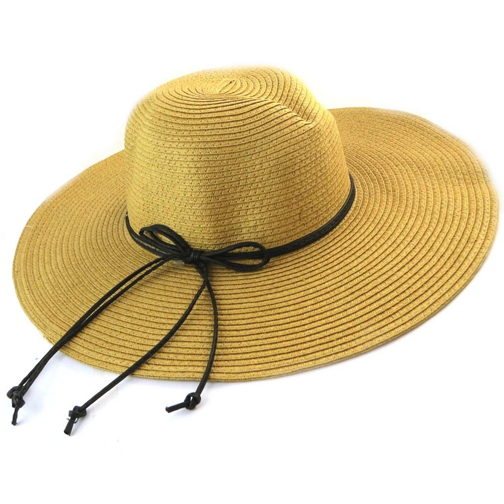 Chapeau capeline \'Scarlett\' camel (paille ) - [N5860]