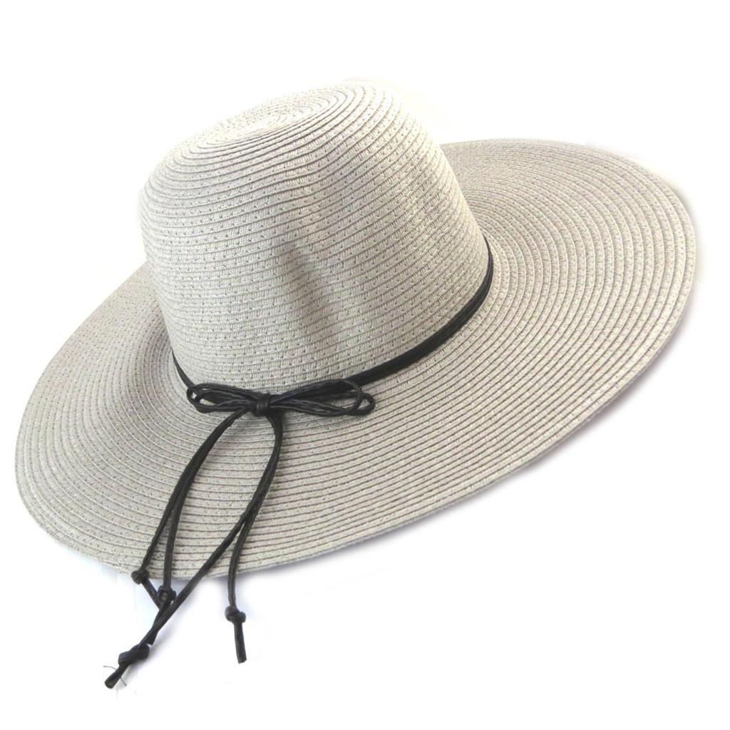 Chapeau capeline \'Scarlett\' gris (paille ) - [N5861]