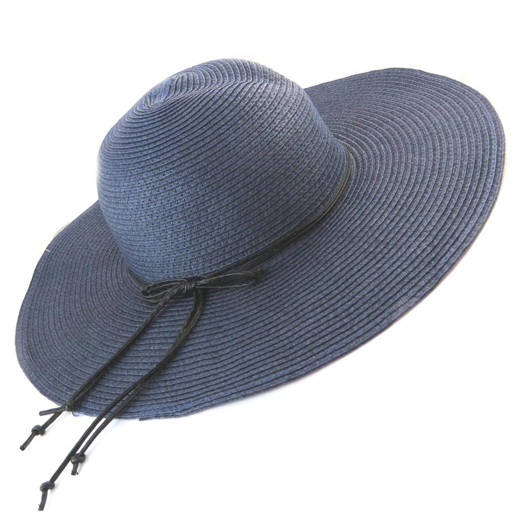 Chapeau capeline \'Scarlett\' bleu marine (paille dentelle) - [N5862]