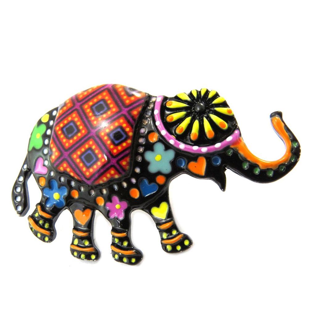 Broche pin\'s créateur \'Lilipoupettes\' (éléphant) noir multicolore - 45x25 mm - [P3953]