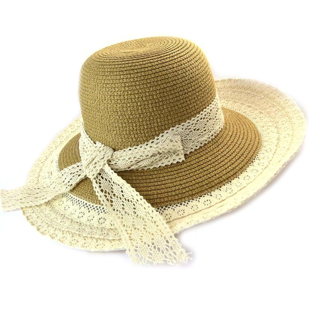 Chapeau capeline \'Scarlett\' caramel beige (paille dentelle) - [N5866]