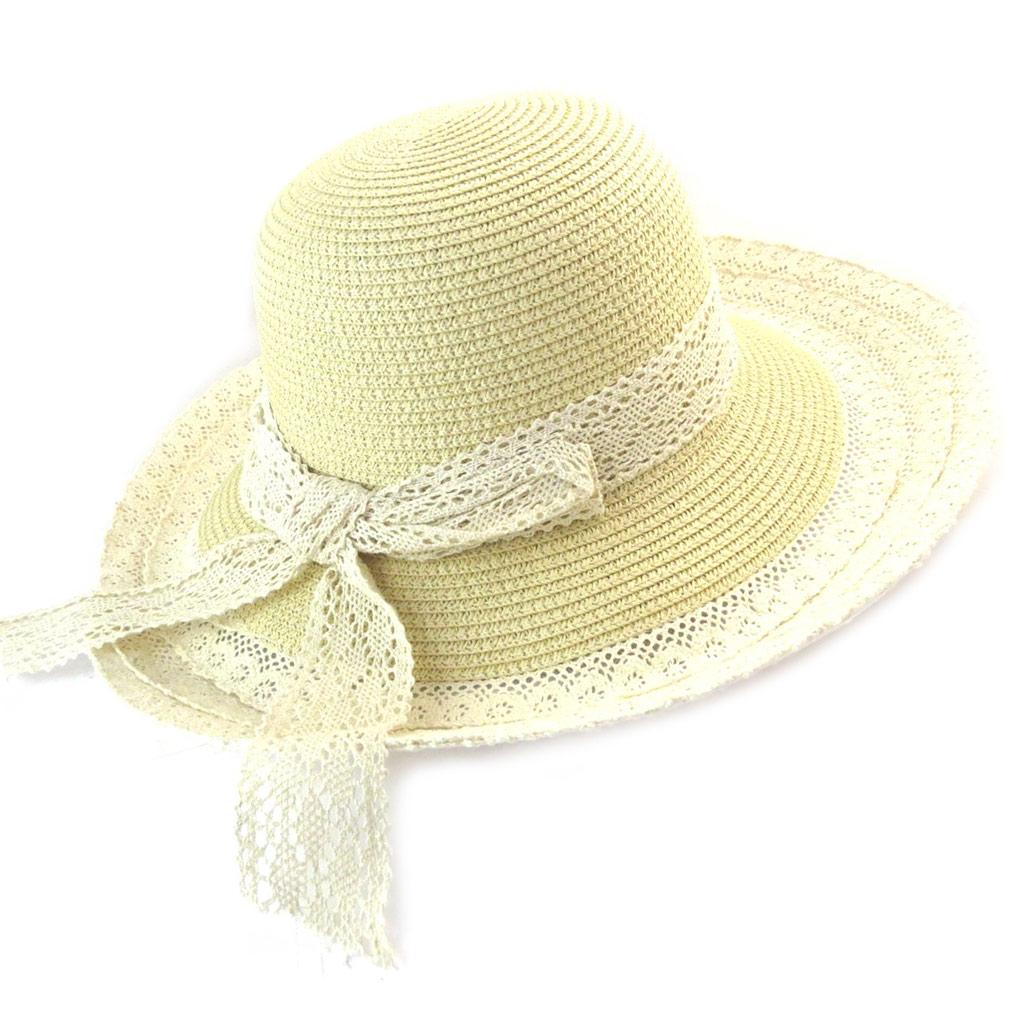 Chapeau capeline \'Scarlett\' beige ivoire (paille dentelle) - [N5868]