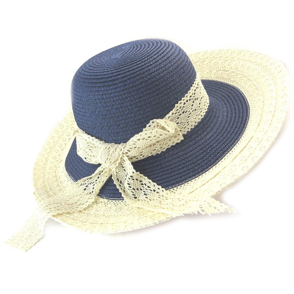 Chapeau capeline \'Scarlett\' bleu beige (paille dentelle) - [N5869]