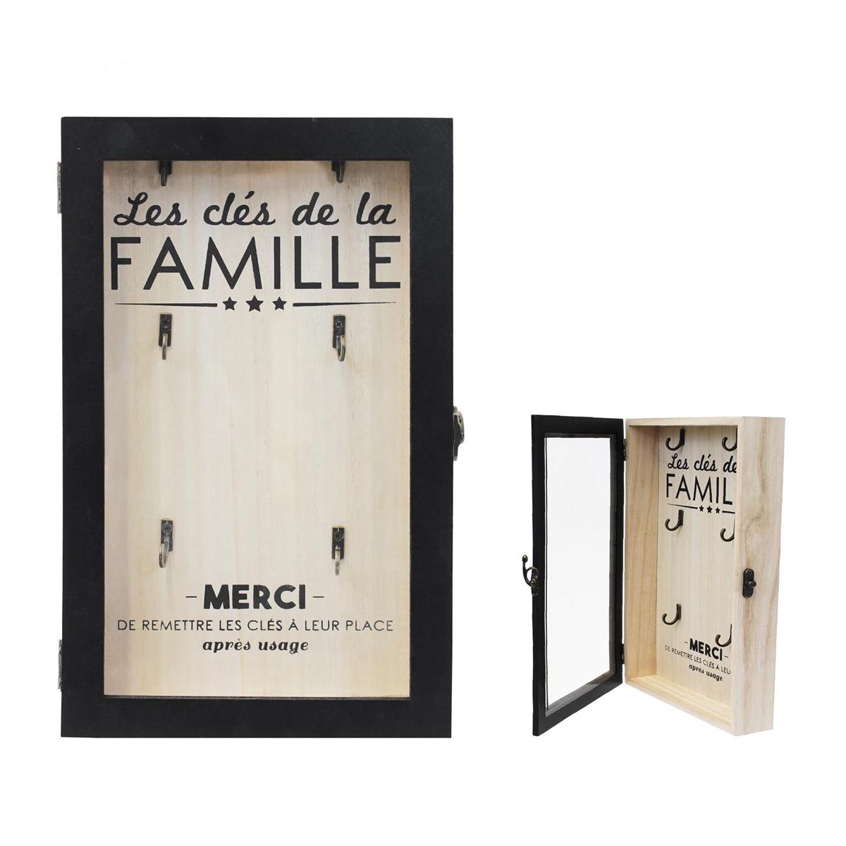 Boite à clés bois \'Message\' noir beige (Les clés de la Famille)(6 crochets) - 30x19x5 cm - [Q0789]