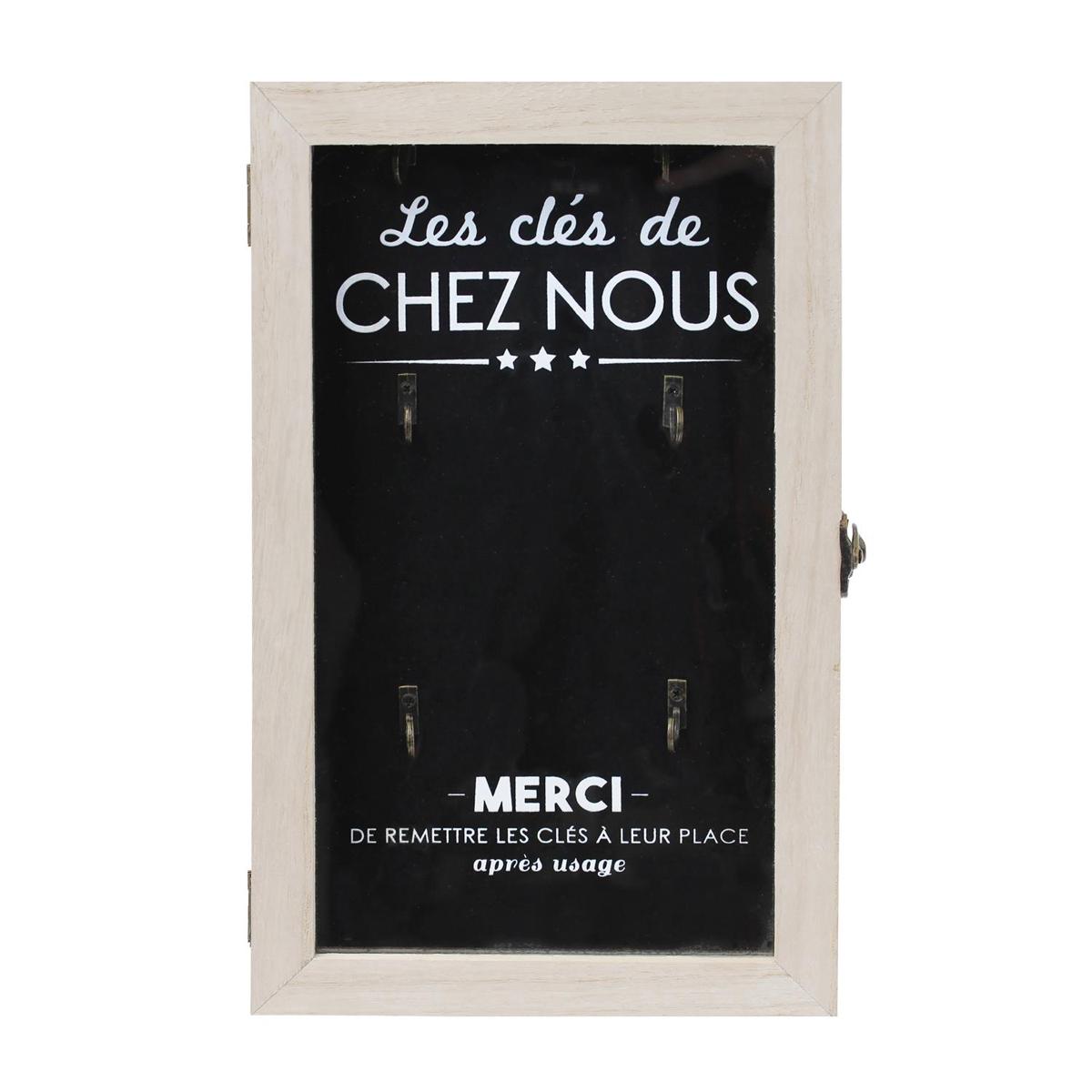 Boite à clés bois \'Message\' noir beige (Les clés de chez nous)(6 crochets) - 30x19x5 cm - [Q0790]