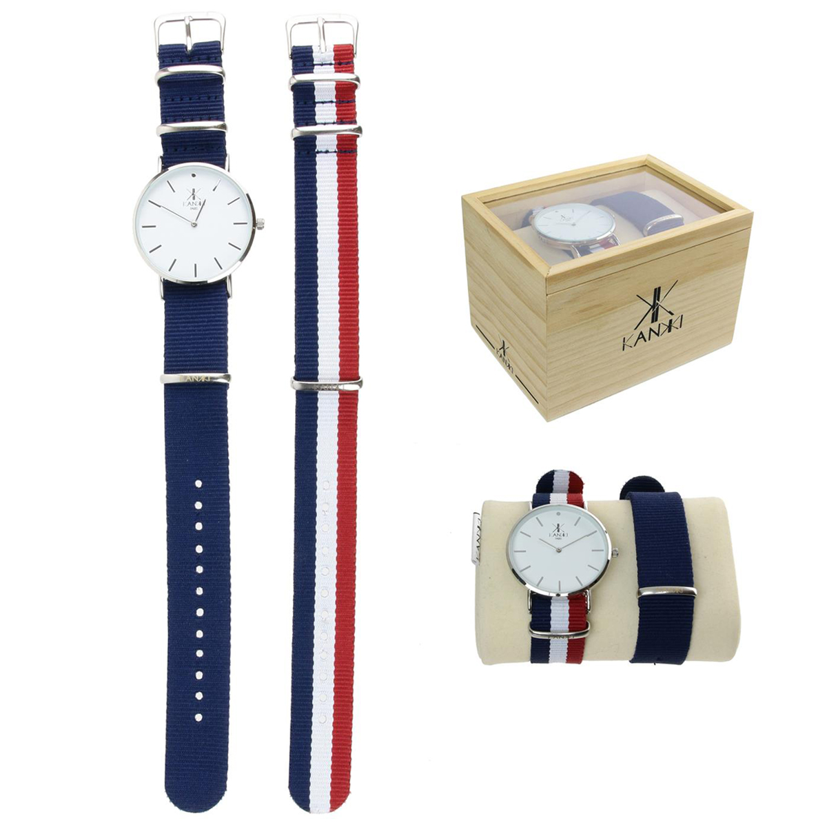 Coffret montre \'France Cocorico\' bleu blanc rouge (France) 2 bracelets - [Q0791]