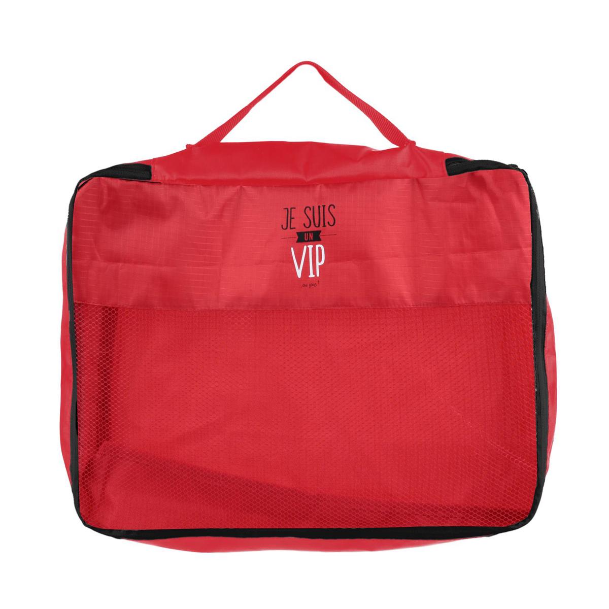 Organisateur valise \'Messages\' rouge (Je suis un VIP ou pas) - 41x34x85 cm - [Q0793]