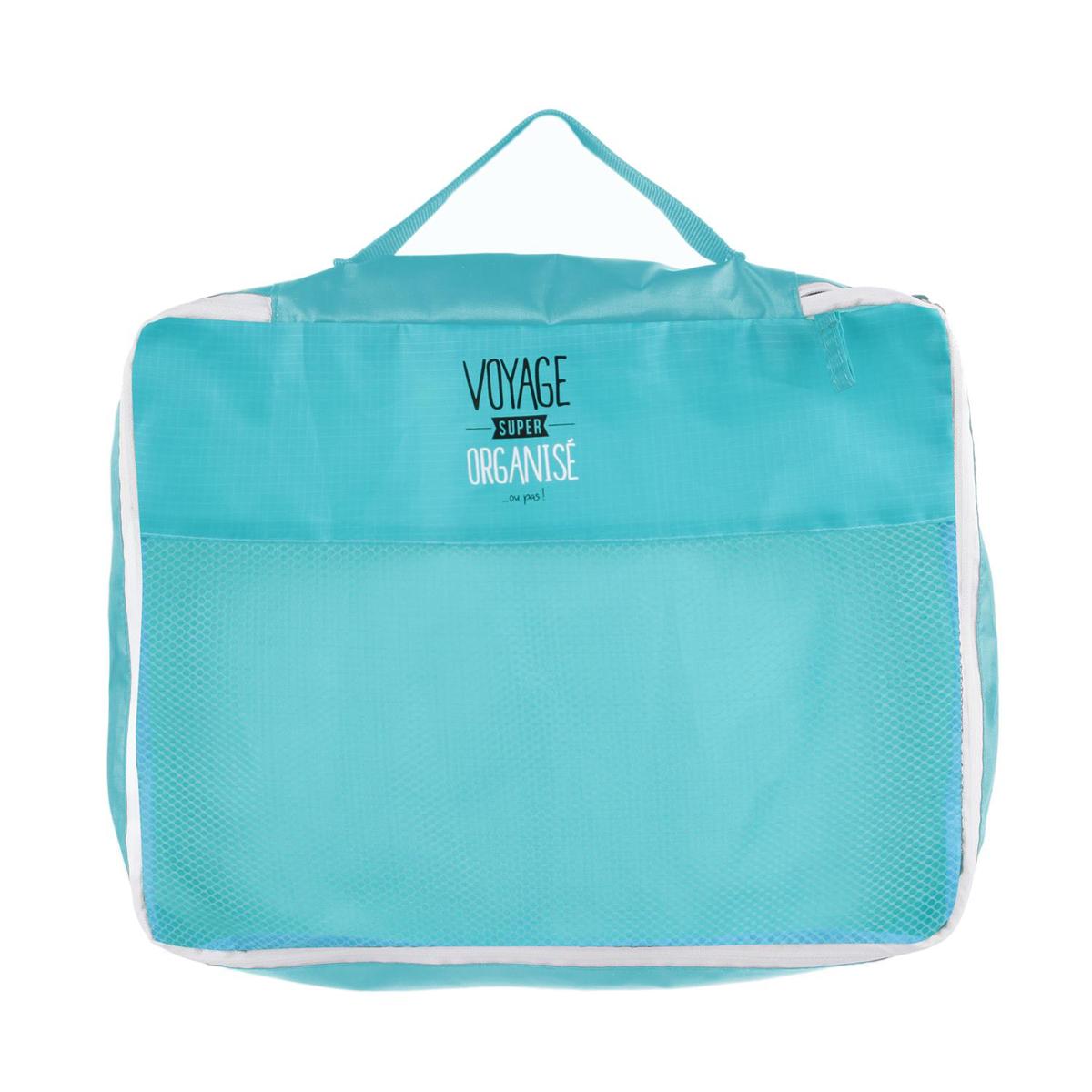 Organisateur valise \'Messages\' turquoise (Voyage super organisé ou pas) - 41x34x85 cm - [Q0794]