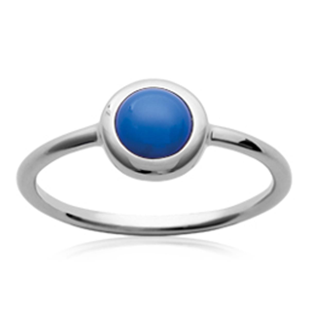 Bague argent \'Princesse Opale\' bleu argenté (rhodié) - 8 mm - [P0660]