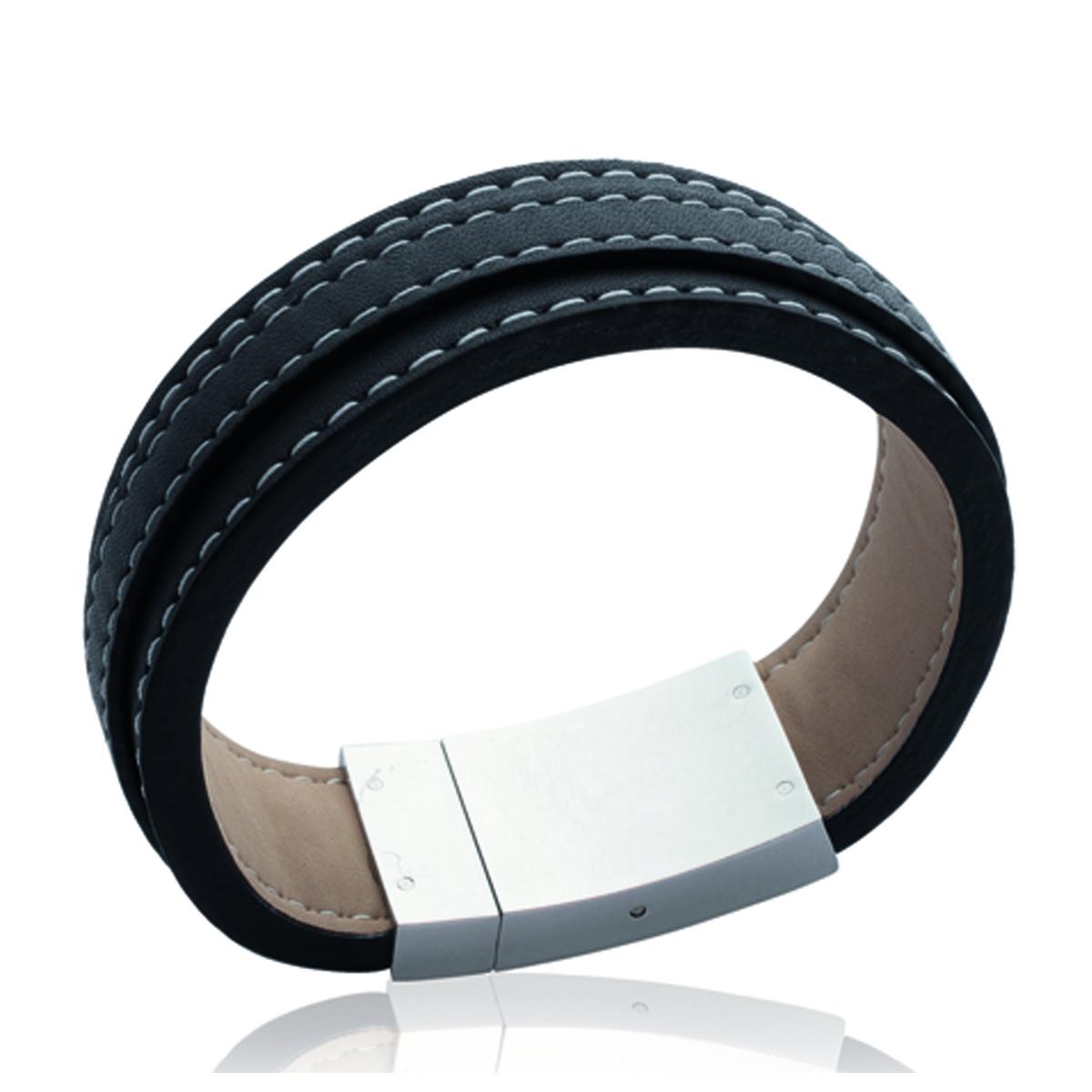 Bracelet acier \'Peaceful\' noir argenté - 18 mm - [J3062]