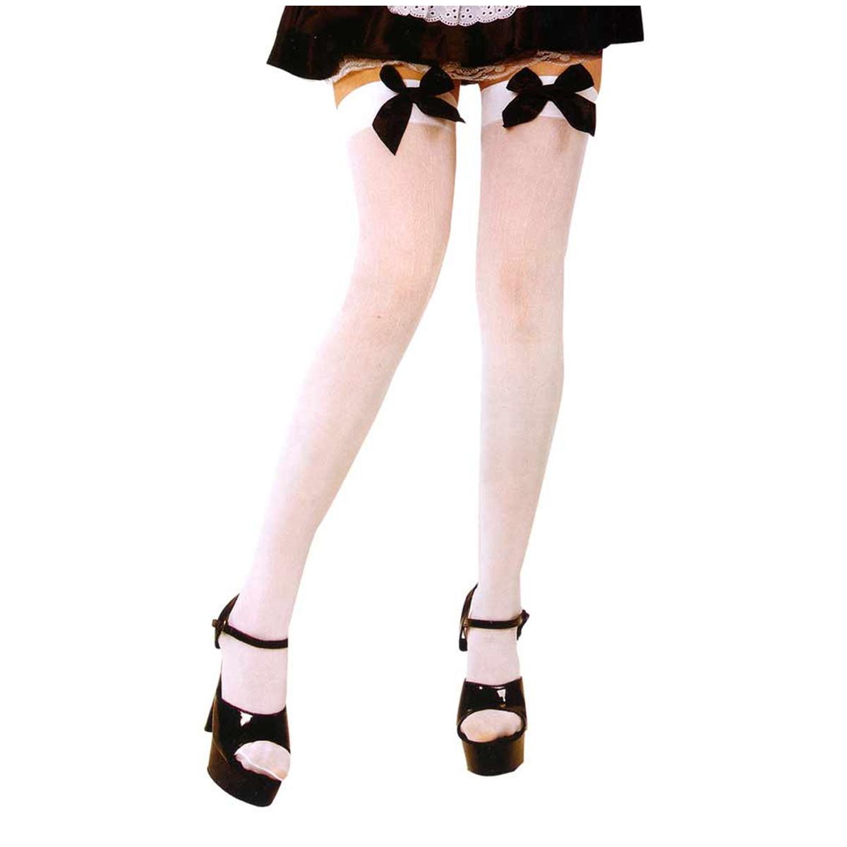 Bas \'Soubrette\' blanc (noeud noir) - taille unique - [Q9679]
