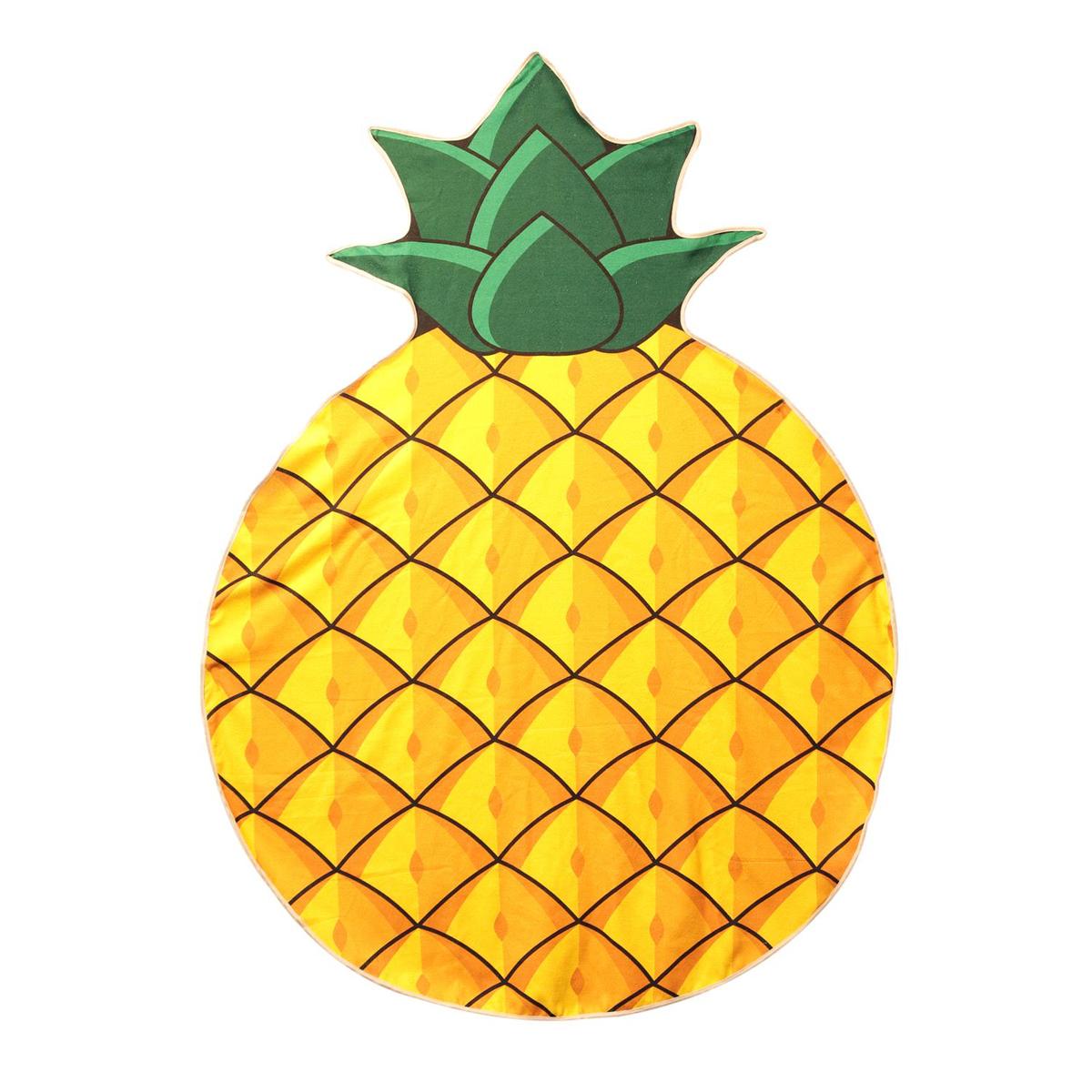 Serviette de plage créateur \'Ananas\' jaune - 150 cm - [Q0817]