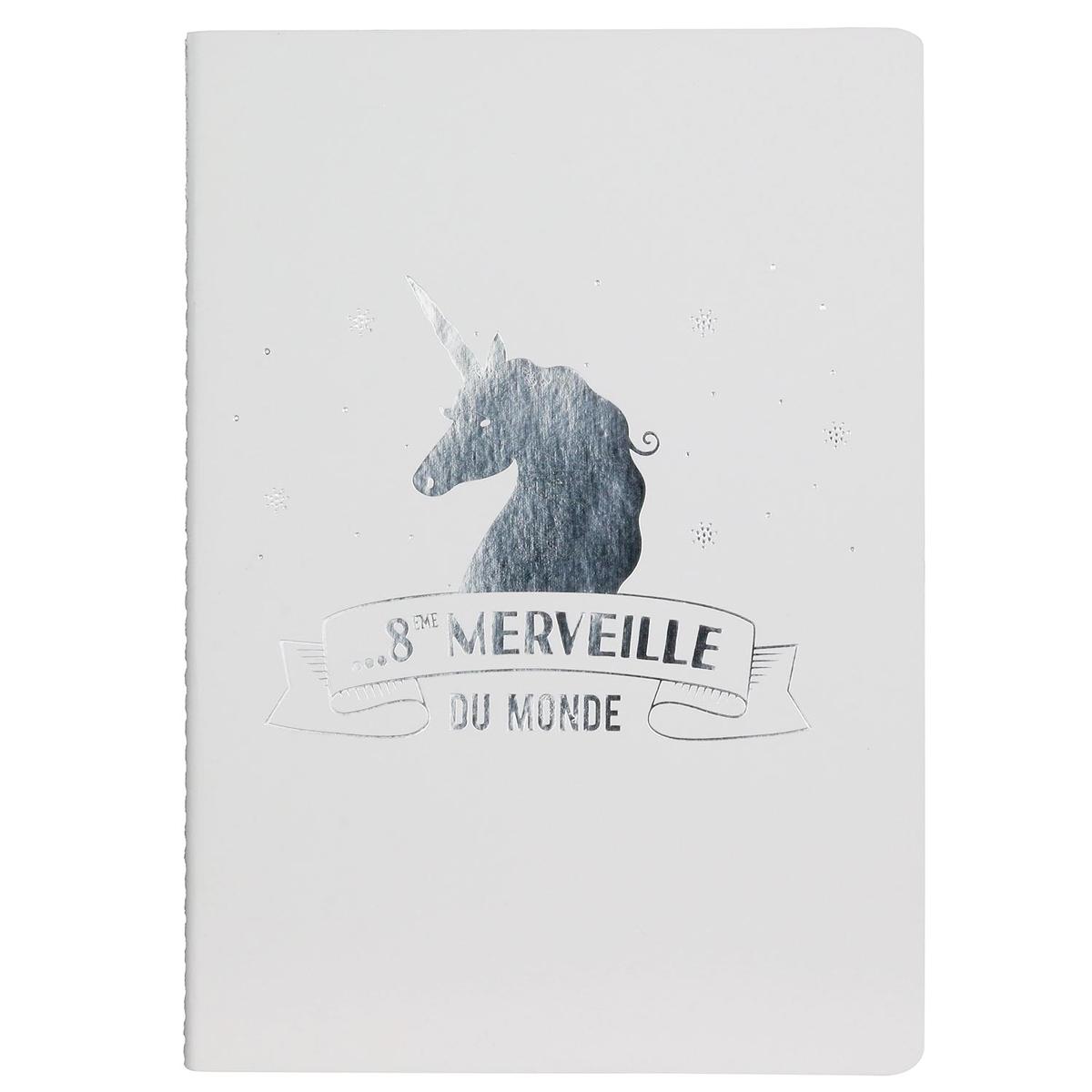Carnet A5 \'Licorne My Unicorn\' blanc argenté (8ème Merveille du Monde) - 21x15 cm - [Q0825]