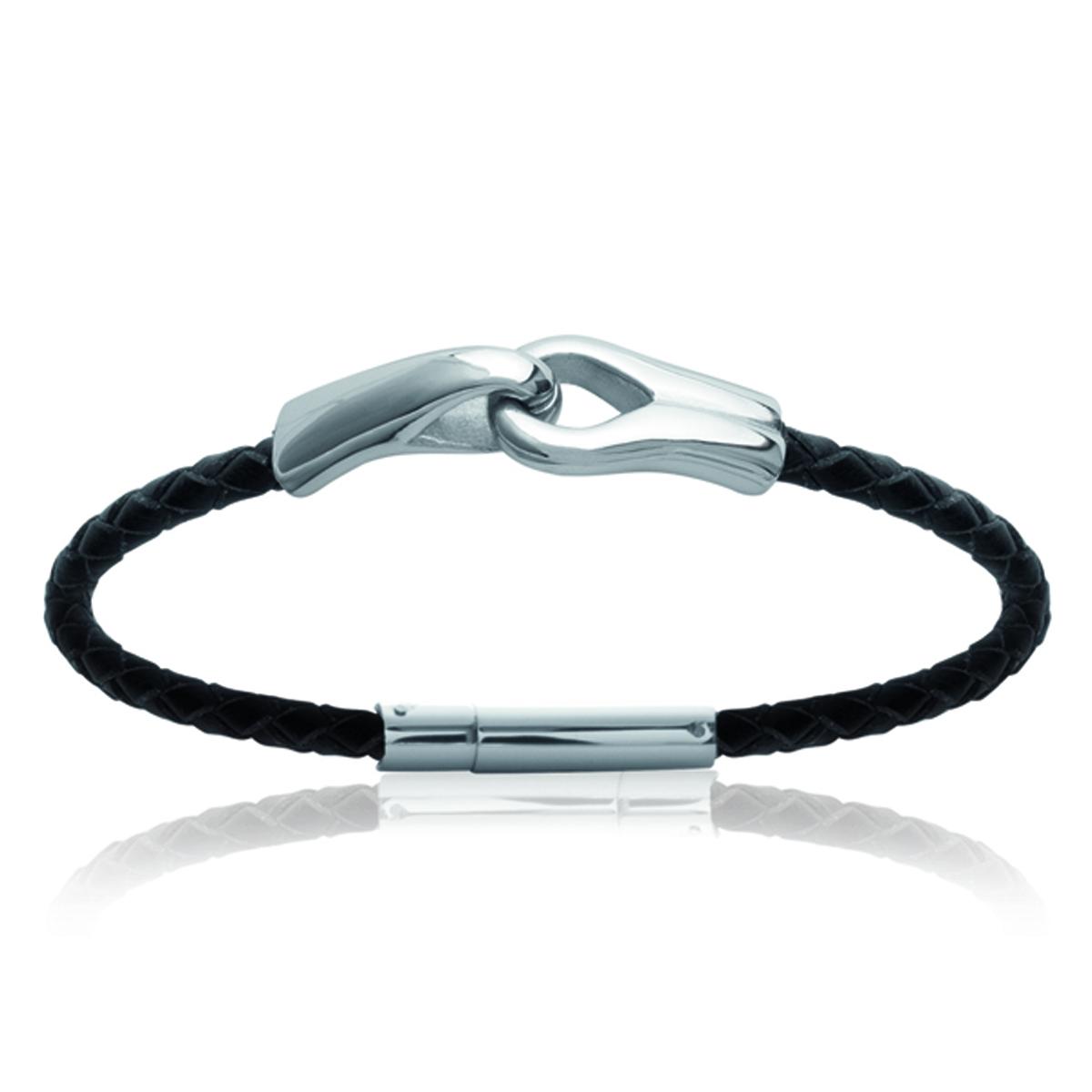 Bracelet mixte \'Peaceful\' noir argenté - 12 mm - [K5875]