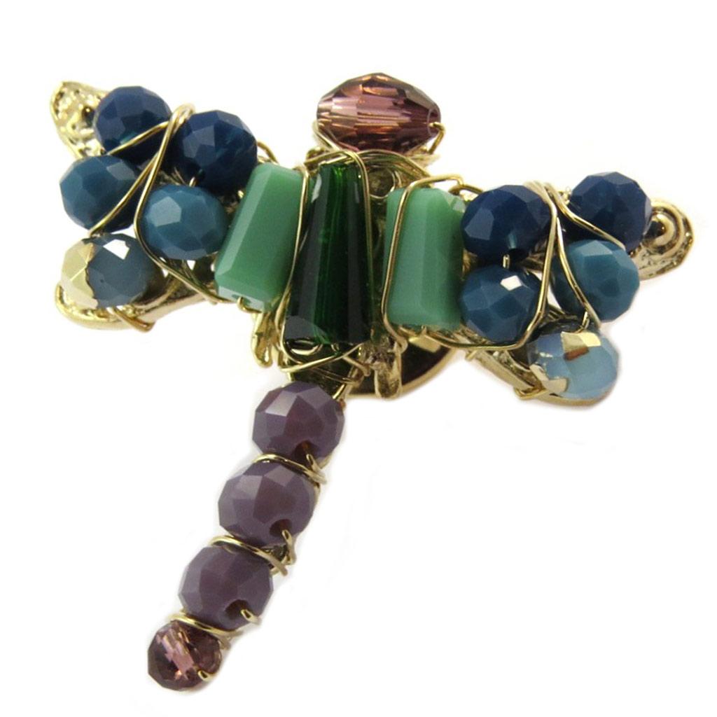 Broche / pin\'s artisanal plaqué or \'Brasilia\' multicolore doré (libellule) - 30x30 mm - [P4020]