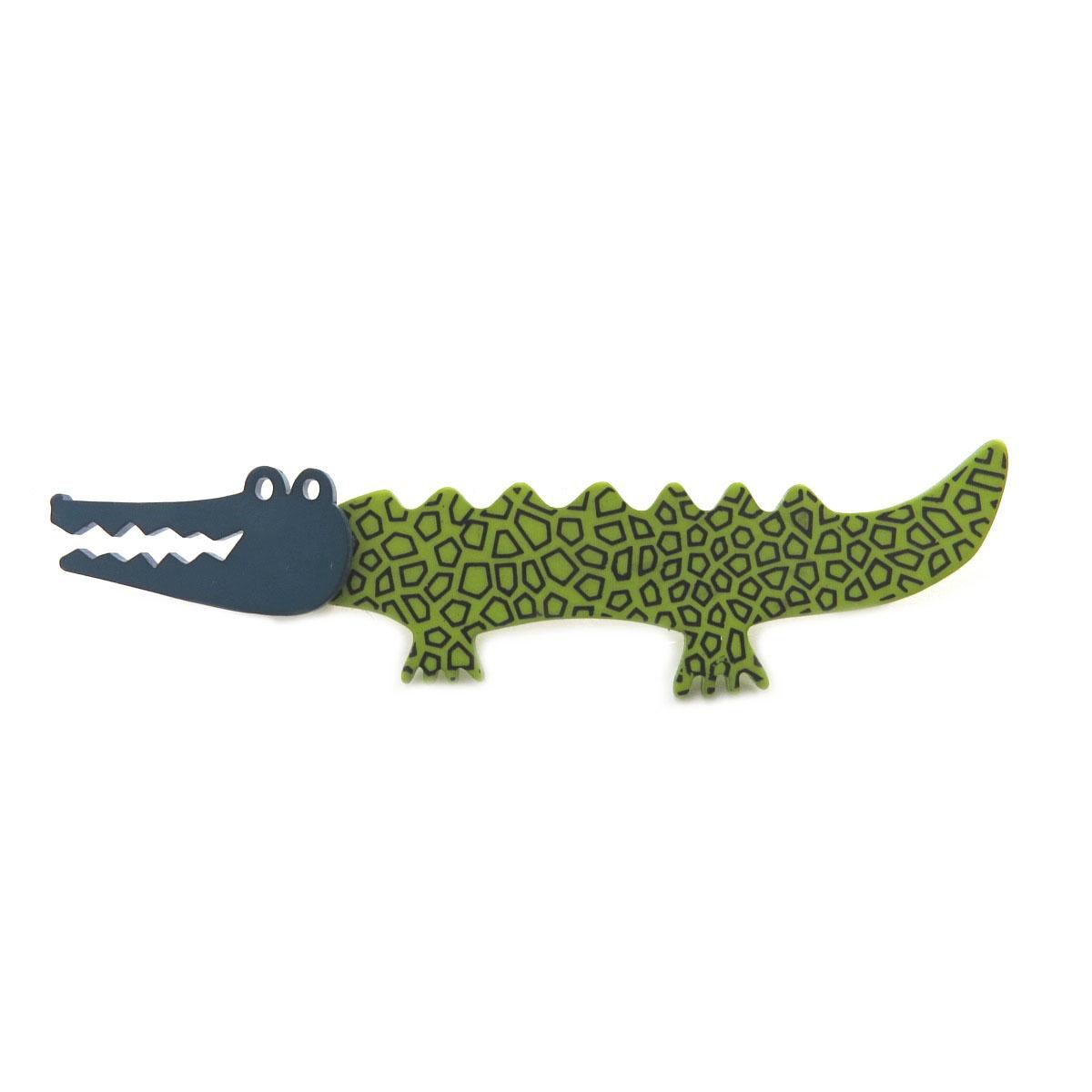 Broche artisanale \'Marionettes\' vert turquoise (crocodile) - 83x20 mm - [Q9702]