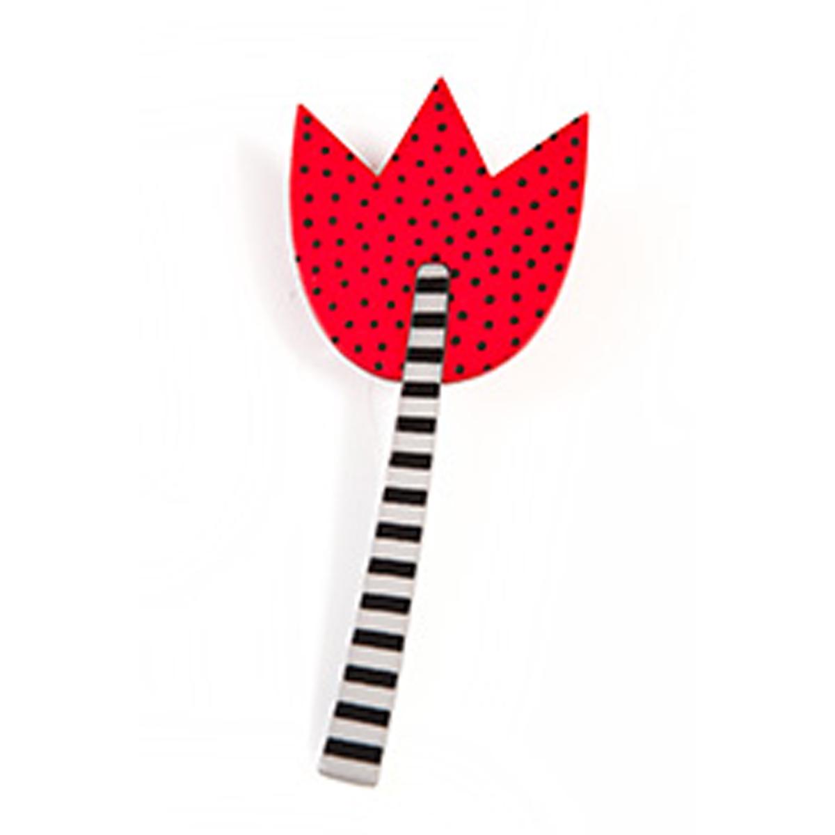 Broche artisanale \'Marionettes\' rouge noir (tulipe) - 83x35 mm - [Q9703]