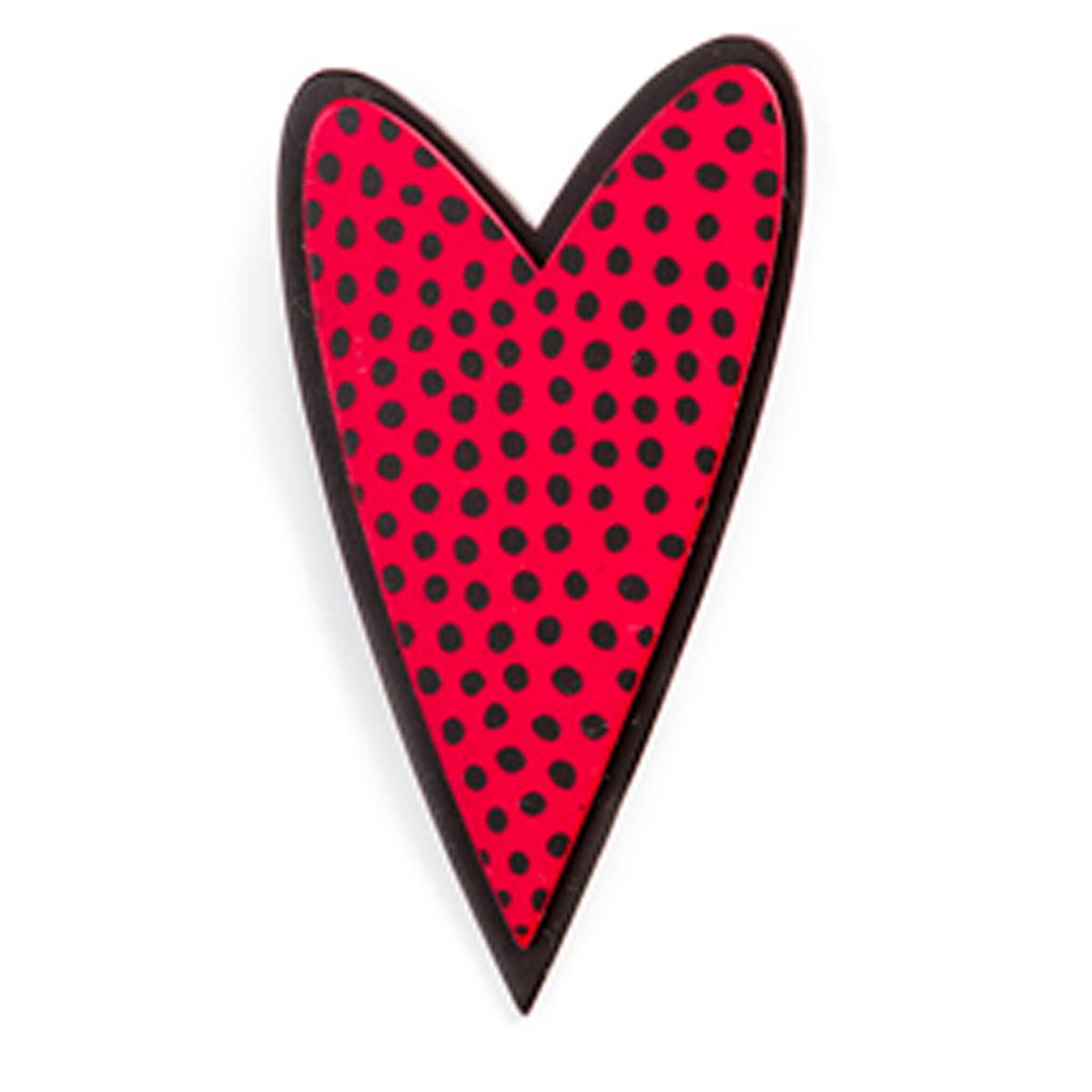 Broche artisanale \'Marionettes\' rouge noir (love) - 60x30 mm - [Q9704]