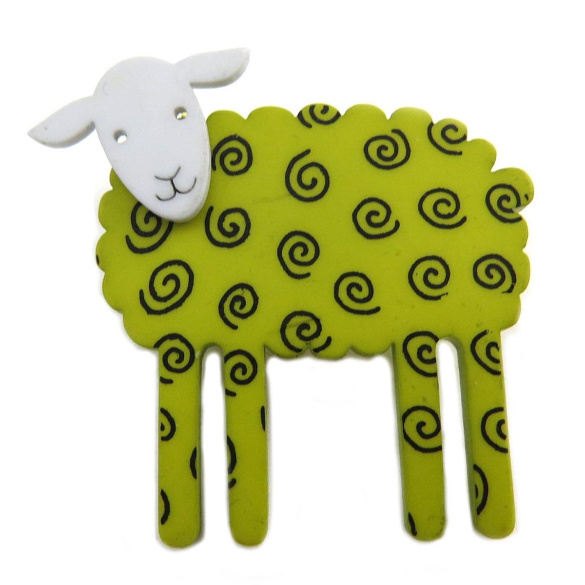 Broche artisanale \'Marionettes\' vert (mouton) - 42x40 mm - [Q9705]
