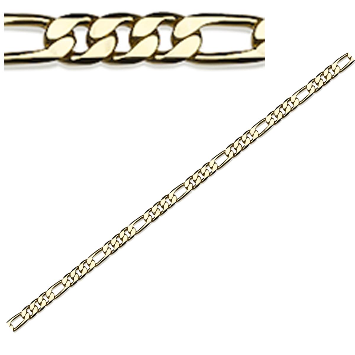 Chaine Plaqué Or \'Figaro\' doré - 60 cm 8 mm - [Q8887]