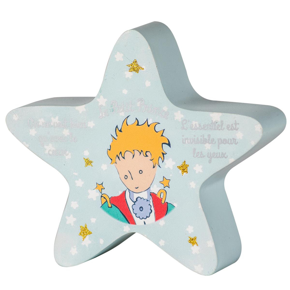 Tirelire bois \'Le Petit Prince\' bleu (étoile) - 18x5 cm - [Q9737]