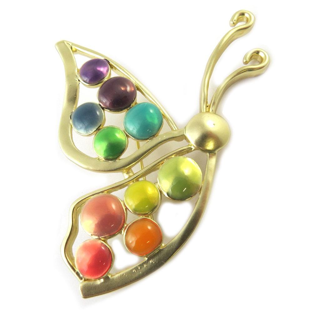 Broche Créateur \'Papillon Imaginaire\' doré multicolore - [P0733]