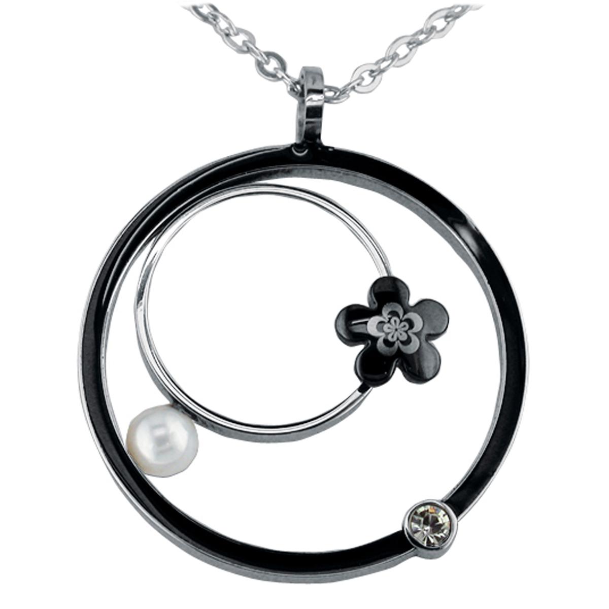 Collier acier \'Calypso\' noir (fleur) - [K6003]