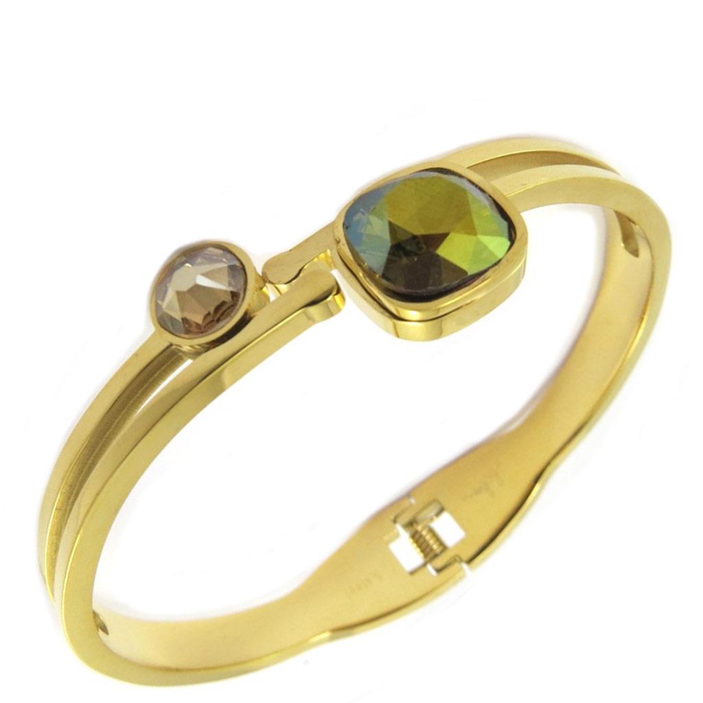 Bracelet artisanal acier \'Bohème\' marron vert doré - [P4113]