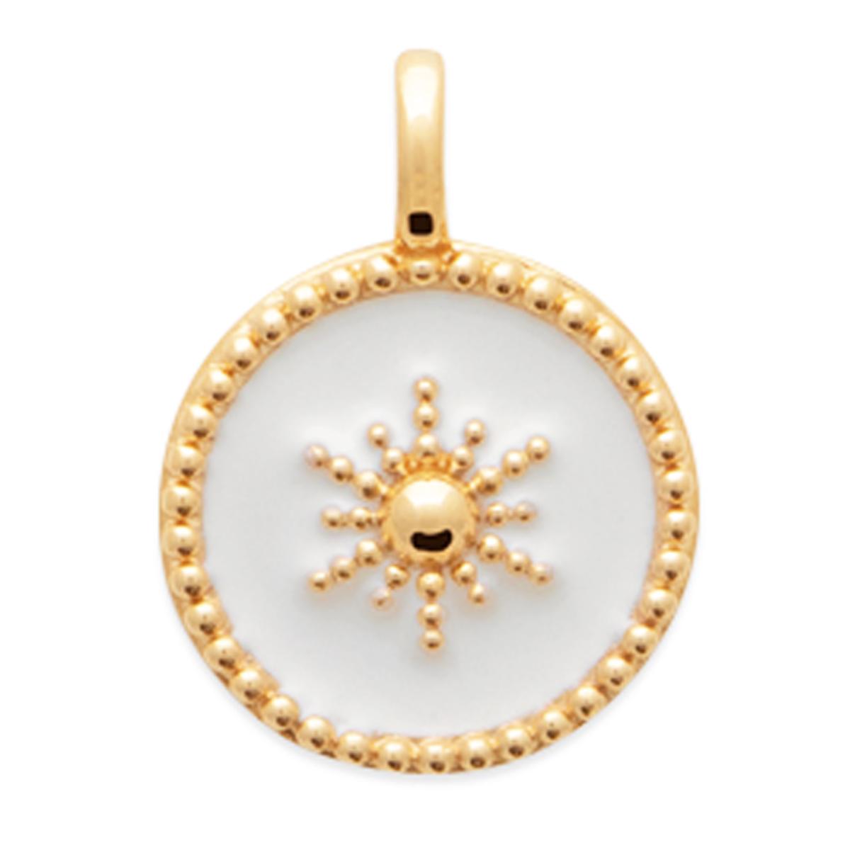 Pendentif plaqué or \'Cléopatra\' blanc doré - 14 mm - [Q8942]