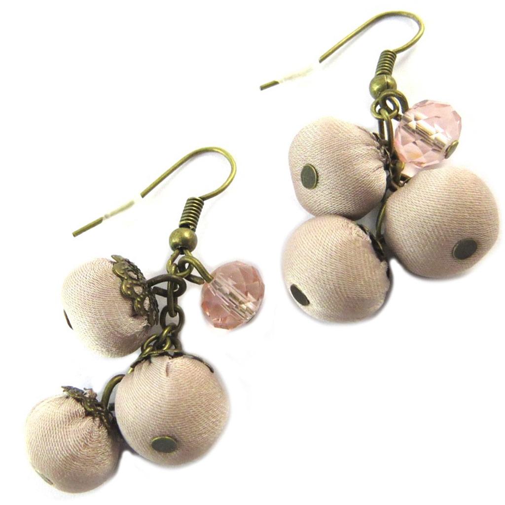 Boucles d\'oreilles artisanales \'Les Antoinettes\' vieux rose (fait main) - [P0765]