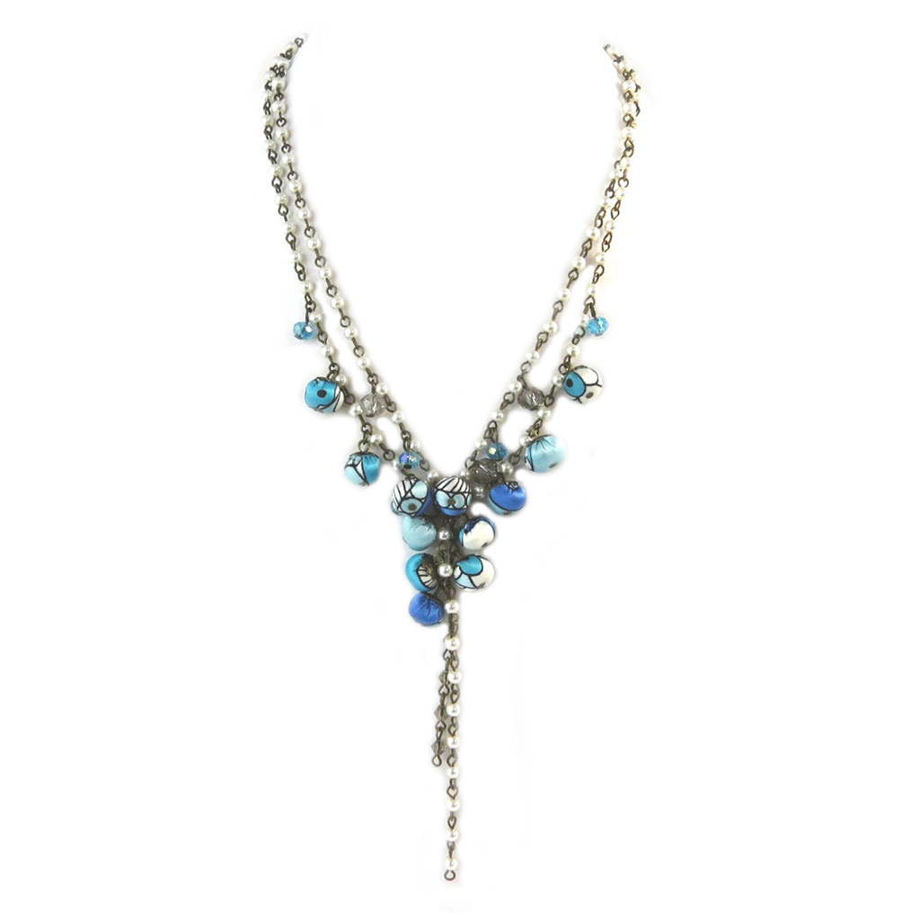 Collier artisanal \'Les Antoinettes\' lagon bleu (fait main) - [P0769]
