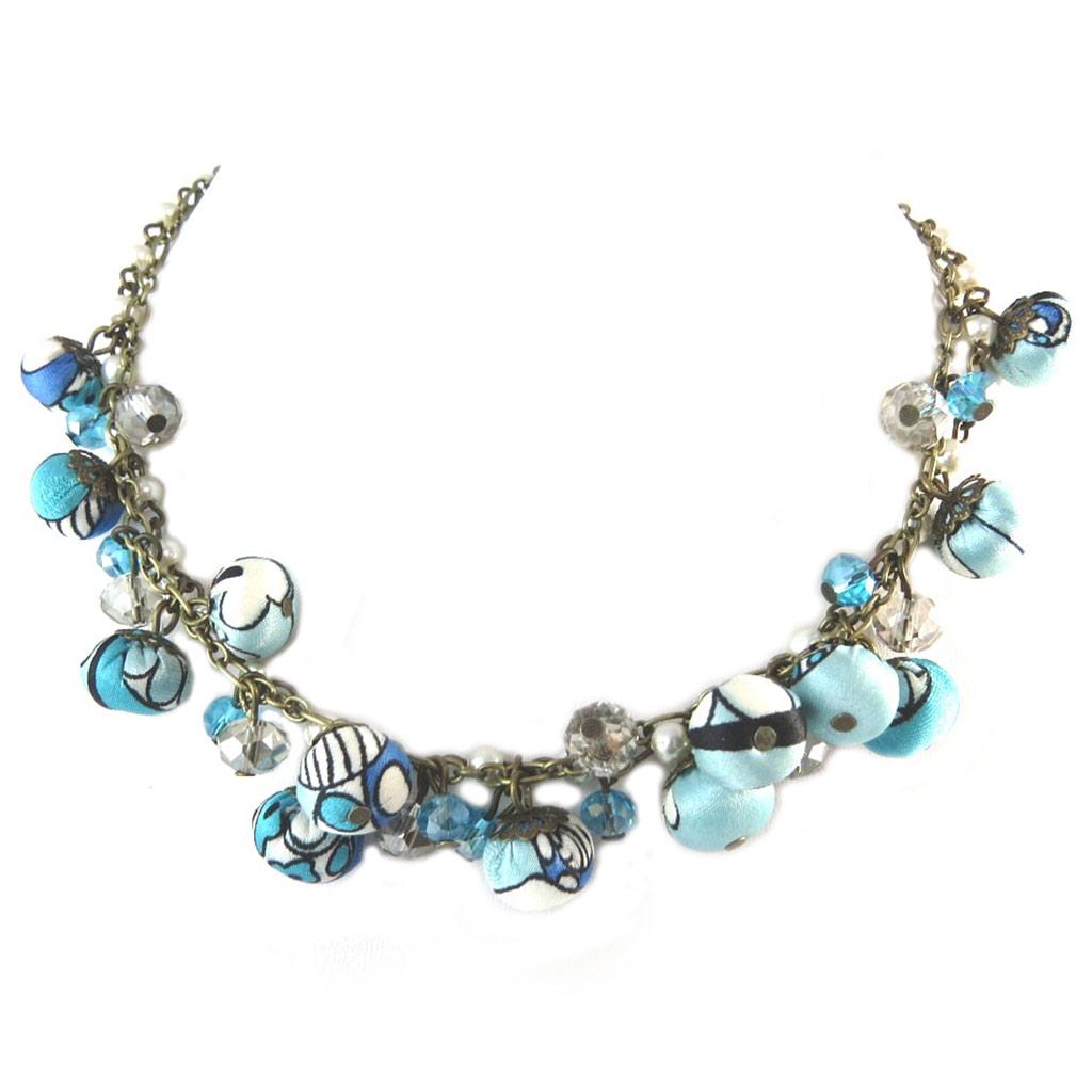 Collier artisanal \'Les Antoinettes\' lagon bleu (fait main) - [P0771]