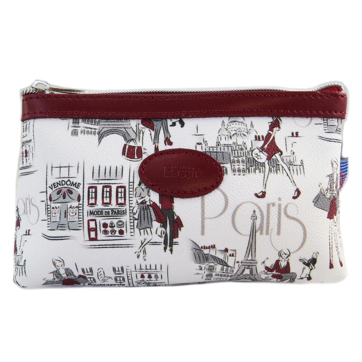 Pochette trousse artisanale \'Parisienne\' blanc rouge - 17x12 cm - [Q9807]