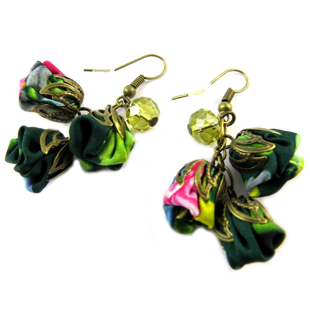 Boucles d\'oreilles artisanales \'Les Antoinettes\' vert émeraude (fait main) - [P0783]