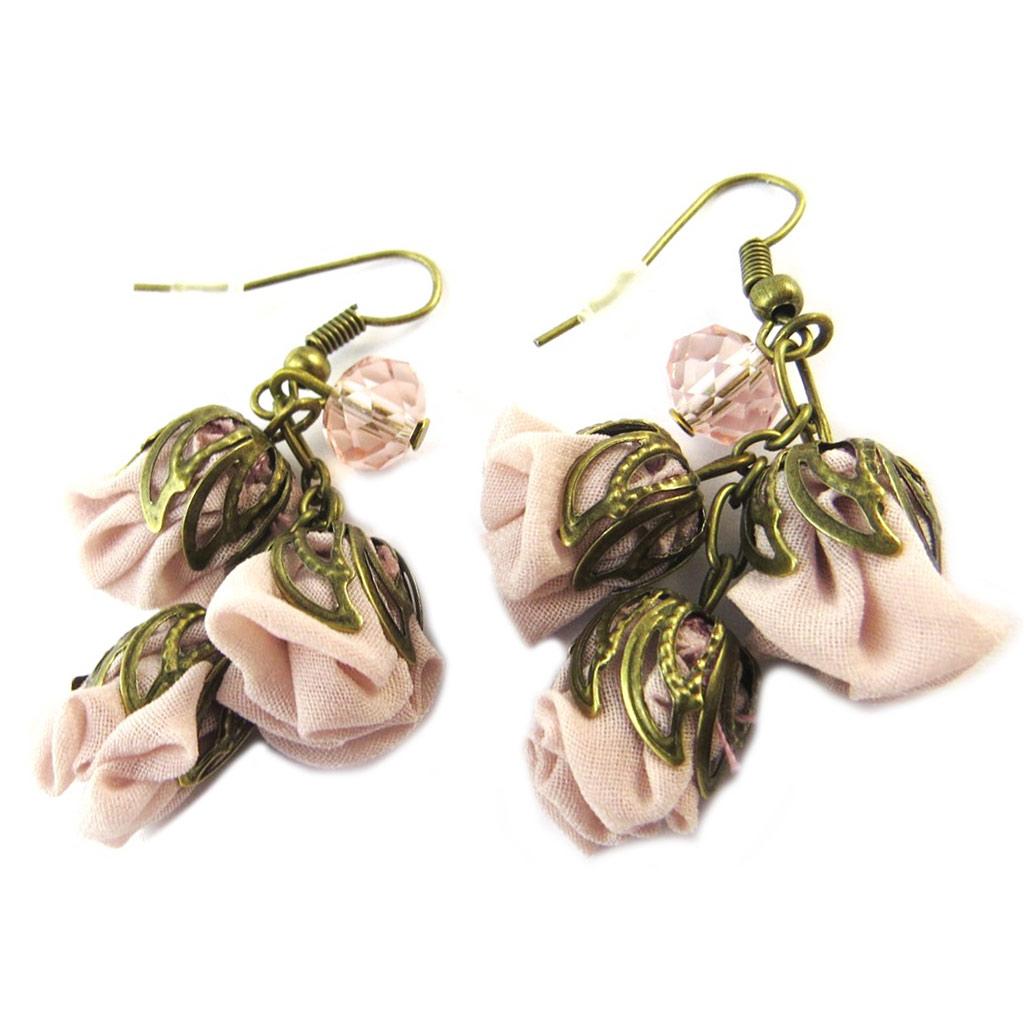 Boucles d\'oreilles artisanales \'Les Antoinettes\' vieux rose (fait main) - [P0784]