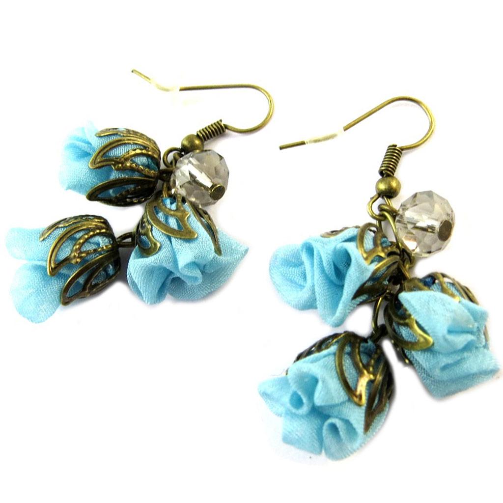 Boucles d\'oreilles artisanales \'Les Antoinettes\' lagon bleu (fait main) - [P0786]