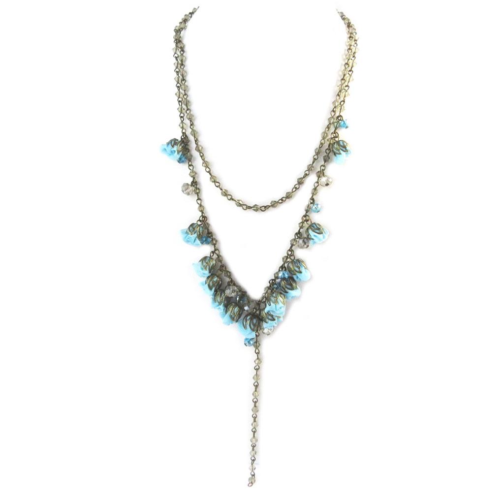 Collier artisanal \'Les Antoinettes\' lagon bleu (fait main) - [P0789]